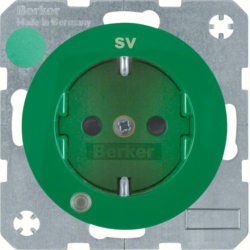 "41102003 SCHUKO socket outlet with control LED and ""SV"" imprint with labelling field,  enhanced contact protection,  Screw-in lift terminals,  green glossy"