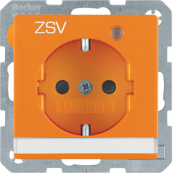 "41106014 SCHUKO socket outlet with control LED and ""ZSV"" imprint with labelling field,  enhanced contact protection,  Screw-in lift terminals,  orange velvety"