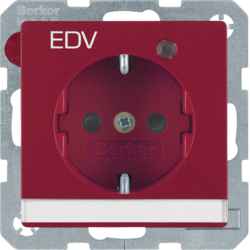 "41106015 SCHUKO socket outlet with control LED and ""EDV"" imprint with labelling field,  enhanced contact protection,  Screw-in lift terminals,  red velvety"