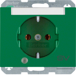 "41107113 SCHUKO socket outlet with control LED and ""SV"" imprint with labelling field,  enhanced contact protection,  Screw-in lift terminals,  Berker K.1, green glossy"