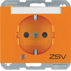 "41107114 SCHUKO socket outlet with control LED and ""ZSV"" imprint with labelling field,  enhanced contact protection,  Screw-in lift terminals,  Berker K.1, orange glossy"