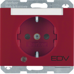 "41107115 SCHUKO socket outlet with control LED and ""EDV"" imprint with labelling field,  enhanced contact protection,  Screw-in lift terminals,  Berker K.1, red glossy"