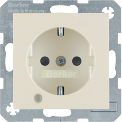41108982 SCHUKO socket outlet with control LED with labelling field,  enhanced contact protection,  Screw-in lift terminals,  white glossy