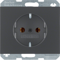 41157006 SCHUKO socket outlet with screw-in lift terminals,  Berker K.1, anthracite matt,  lacquered