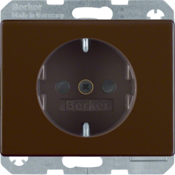 41350001 SCHUKO socket outlet with enhanced touch protection,  Screw-in lift terminals,  Berker Arsys,  brown glossy