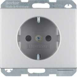41357003 SCHUKO socket outlet with enhanced touch protection,  Screw-in lift terminals,  Berker K.5, Aluminium,  aluminium anodised