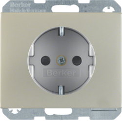 41357004 SCHUKO socket outlet with enhanced touch protection,  Screw-in lift terminals,  Berker K.5, stainless steel,  metal matt finish