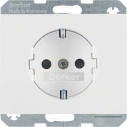 41357009 SCHUKO socket outlet with enhanced touch protection,  with screw-in lift terminals,  Berker K.1, polar white glossy