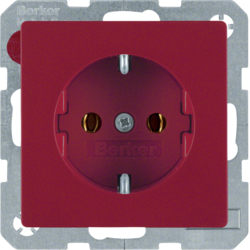 41436012 SCHUKO socket outlet with screw-in lift terminals,  red velvety