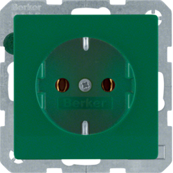 41436013 SCHUKO socket outlet with screw-in lift terminals,  green velvety