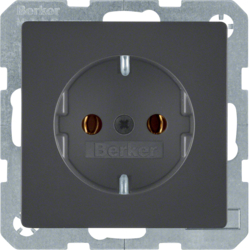 41436086 SCHUKO socket outlet with screw-in lift terminals,  anthracite velvety,  lacquered
