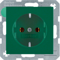 41438913 SCHUKO socket outlet with screw-in lift terminals,  green glossy