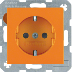41438914 SCHUKO socket outlet with screw-in lift terminals,  orange glossy