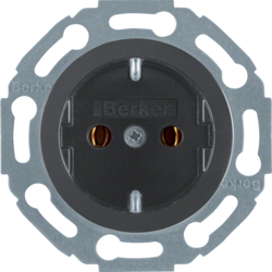 414521 SCHUKO socket outlet Installation position variable in 45° steps,  with screw-in lift terminals,  black glossy