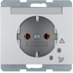 41527103 SCHUKO socket outlet with overvoltage protection with labelling field,  Screw terminals,  Berker K.5, aluminium,  matt,  lacquered