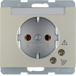 41527104 SCHUKO socket outlet with overvoltage protection with labelling field,  Screw terminals,  Berker K.5, stainless steel matt,  lacquered