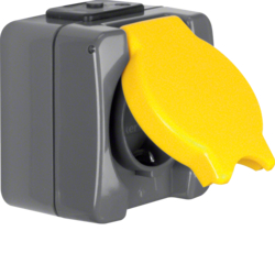 4280 SCHUKO socket outlet with hinged cover surface-mounted Screw terminals,  Isopanzer IP44, dark grey/yellow