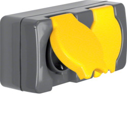 4322 Double SCHUKO socket outlet with hinged cover surface-mounted Screw terminals,  Isopanzer IP44, dark grey/yellow