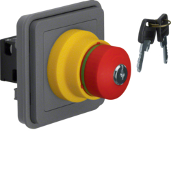 44713515 SAFETY EMERGNCY push-button insert,  NC contact + NO contact surface-mounted/flush-mounted Lock - identical lockings,  Berker W.1, grey matt