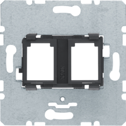 454202 Supporting plate with black mounting device 2gang for modular jack Communication technology