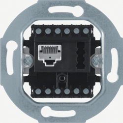 458805 FCC/TAE socket outlet 8(6)pole/6 F + N cat.3 Communication technology,  black matt