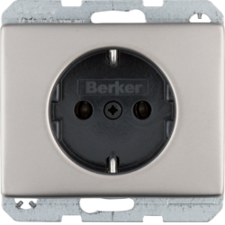 47140004 SCHUKO socket outlet Berker Arsys,  stainless steel,  metal matt finish