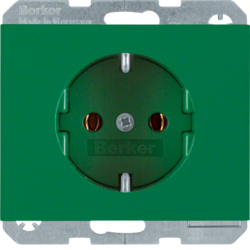 47157013 SCHUKO socket outlet Berker K.1, green glossy