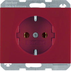 47157015 SCHUKO socket outlet Berker K.1, red glossy