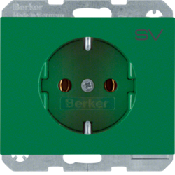 "47157113 SCHUKO socket outlet with ""SV"" imprint Berker K.1, green glossy"