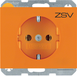 "47157114 SCHUKO socket outlet with ""ZSV"" imprint Berker K.1, orange glossy"