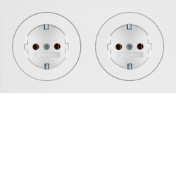 47202089 Combination SCHUKO socket outlet 2gang with frame polar white glossy