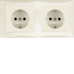 47208982 Combination SCHUKO socket outlet 2gang with frame Berker S.1, polar white glossy