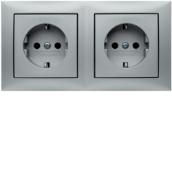 47209939 Combination SCHUKO socket outlet 2gang with frame Berker S.1, aluminium matt,  lacquered