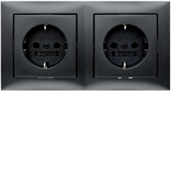 47209949 Combination SCHUKO socket outlet 2gang with frame Berker S.1, anthracite matt