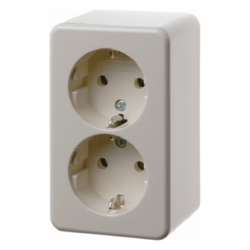 472140 Surface-mounted double SCHUKO socket outlet Surface-mounted,  white glossy