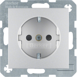 47231404 SCHUKO socket outlet with enhanced touch protection,  aluminium,  matt,  lacquered