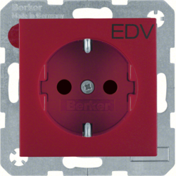 "47231922 SCHUKO socket outlet with ""EDV"" imprint enhanced contact protection,  red"