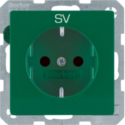 "47236003 SCHUKO socket outlet with ""SV"" imprint enhanced contact protection,  green"