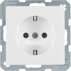 47236089 SCHUKO socket outlet with enhanced touch protection,  polar white velvety