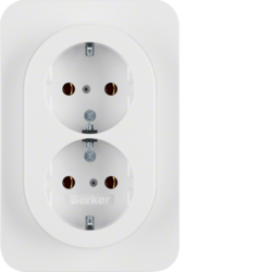 47282089 Double SCHUKO socket outlet with cover plate Berker R.1, polar white glossy