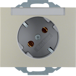 47287104 SCHUKO socket outlet 45° with labelling field,  Berker K.5, stainless steel matt,  lacquered