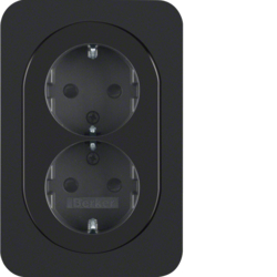 47292045 Double SCHUKO socket outlet with cover plate enhanced contact protection,  Berker R.1, black glossy