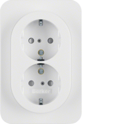 47292089 Double SCHUKO socket outlet with cover plate enhanced contact protection,  Berker R.1, polar white glossy