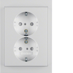 47297003 Double SCHUKO socket outlet with cover plate enhanced contact protection,  Berker K.5, aluminium,  matt,  lacquered