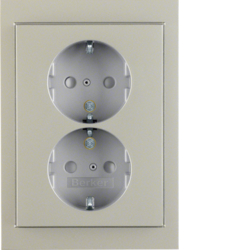 47297004 Double SCHUKO socket outlet with cover plate enhanced contact protection,  Berker K.5, stainless steel matt,  lacquered