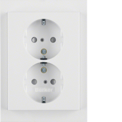 47297009 Double SCHUKO socket outlet with cover plate enhanced contact protection,  Berker K.1, polar white glossy