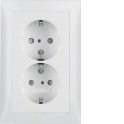 47298989 Double SCHUKO socket outlet with cover plate enhanced contact protection,  Berker S.1, polar white glossy