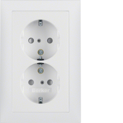 47299909 Double SCHUKO socket outlet with cover plate enhanced contact protection,  Berker S.1, polar white matt