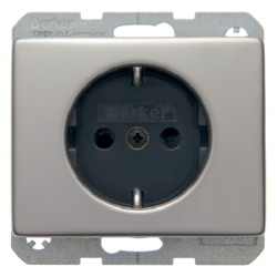 47340004 SCHUKO socket outlet with enhanced touch protection,  Berker Arsys,  stainless steel,  metal matt finish