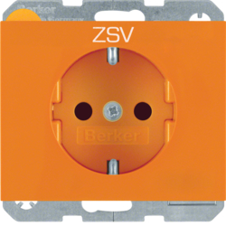 "47357114 SCHUKO socket outlet with ""ZSV"" imprint enhanced contact protection,  Berker K.1, orange"
